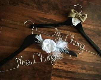 Bride and Groom Hanger Set, Rustic Theme Wedding, Distressed Hangers, Burlap Hanger, Bridal Hanger, Groom Hanger, Flower Hanger, Get QUICK