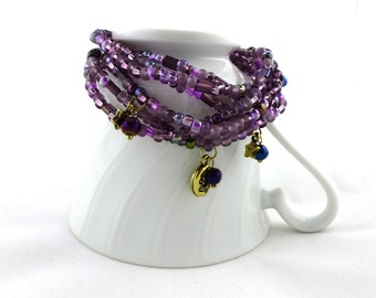 Purple Stars- Multi Strand Bracelet with Charms