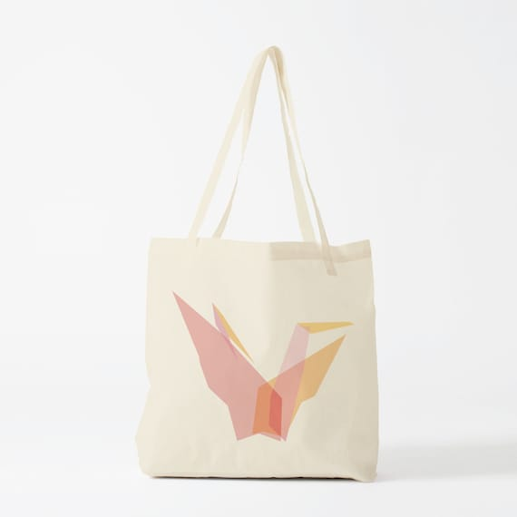 Tote Bag Pink Origami. groceries bag, canvas bag, cotton bag, novelty gift, gift for coworker, school bag, reusable bag, fabric bag.