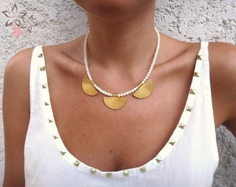 Ancient Greek Style Gold plated Brass Elements White Coral Gemstones Handmade Unique Necklace
