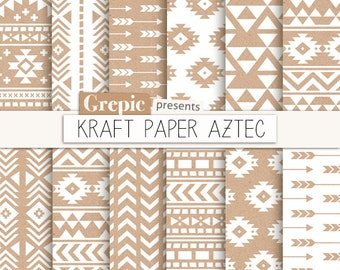 "Aztec digital paper: ""KRAFT PAPER AZTEC"" patterns, tribal backgrounds, white, beige, brown, geometric, native, triangles, arrows, kraft"