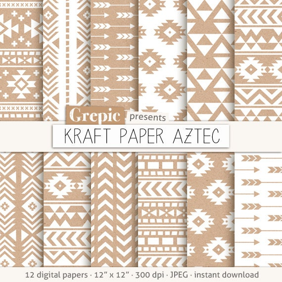 Aztec Digital Paper Kraft Paper Aztec Patterns Tribal Backgrounds White Beige Brown Geometric Native Triangles Arrows Kraft Grepic Clip Art Illustrations Digital Paper Scrapbooking Supplies