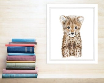 Safari Animal Nursery, Baby Cheetah Print, Animal Art, Cheetah Art, Baby Animal, Safari Print, Safari Nursery, Cheetah Cub, Neutral