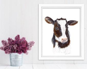 Cow Print, Farm Animal Nursery, Baby Farm Animal Art, Baby Nursery Cow, Farm Nursery, Nursery Animal Art, Animal Print, Baby Cow