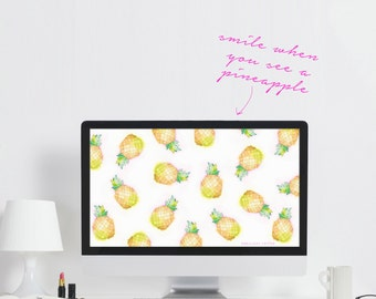 Pineapple Computer Wallpaper - Downloadable Desktop Wallpaper - Fruit Computer Wallpaper - Cute Laptop Background