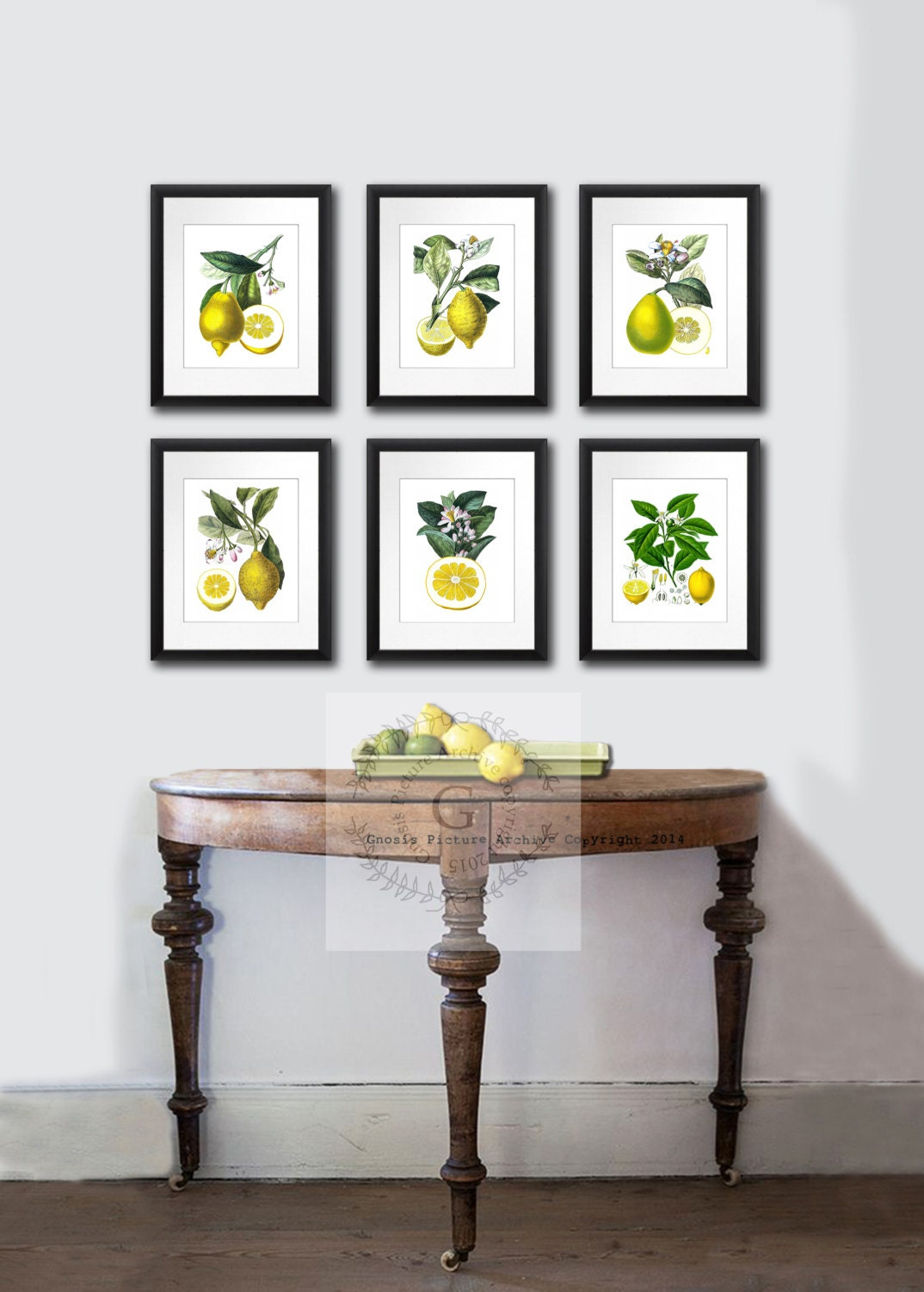 Lemons kitchen art fruit botanical prints set of 6 citrus6b for Kitchen dining room wall decor