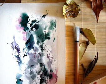 Abstract ORIGINAL Watercolor Painting, Green Leaves Intuitive Painting, Modern Art