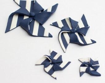 Striped fondant pinwheels (Set of 4) - Ready to ship in 1-2 weeks