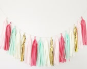 Mint and Pink Coral Tassel Garland - Mint and Gold Decor, Coral Birthday Party, Coral Nursery, Gender Reveal Baby Shower, Thanksgiving Decor