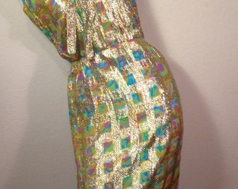 FREE  SHIPPING    1960 Designer Metallic  Dress
