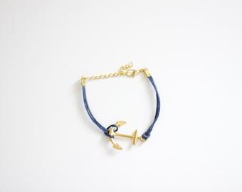 Anchor Navy Blue Cord Bracelet