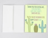 Cactus, Husband Card, Husband Father's Day Card, Funny Father's Day Card, Greeting Card, Father's Day, Gifts for Dad, Father's Day Print