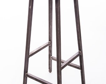 Square top oak and steel industrial barstool