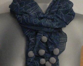 Chiffon floral shawl, blue color, grey pompom, women scarf,  Spring, summer shawl, Lightweight, Nautical blue shawls