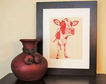 Wall Picture - Art Print Kitchen Decor - Red Cow Wall Print - Wall Hanging Screen Printed Linen - Farm Animal Home Decor Gift