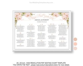 Peach Beige DIY Seating Chart Wedding Template| Wedding Seating Chart  Poster Template| Instant Download