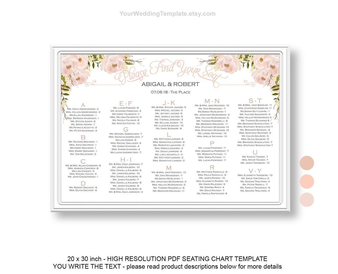 Peach beige DIY seating chart wedding template| Wedding seating ...