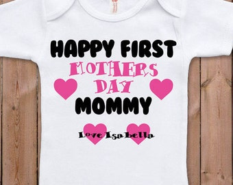 Mothers Day gift new mom Happy first Mothers Day Funny baby clothes baby gift personalized name baby shower gifts bodysuit one piece romper
