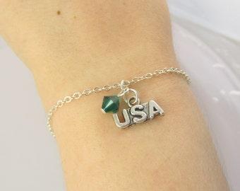 USA Bracelet- choose a birthstone, USA Jewelry, United States, USA Charm, United States Jewelry, usa Gift, Fourth of July Bracelet