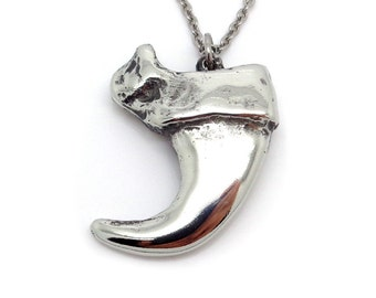 Handmade Lynx Claw Necklace in Pewter, Cat Pendant, Animal Jewelry