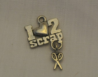 2 -I LOVE to SCRAP - Scrapbook Pewter Charms
