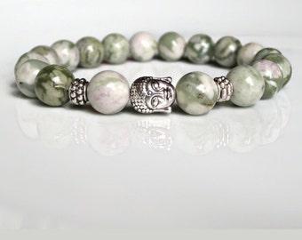 Mens bracelet, Buddha Bracelet, Mens beaded bracelet, healing, mens bead bracelet, Green Lotus Jasper bracelet, UK Seller