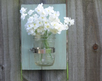 Mason Jar Wall Sconce, Mason Jar Wall Decor, Mason Jar Wall Vase