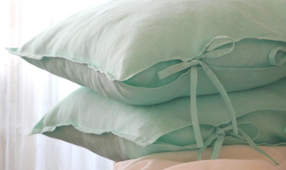 Two Mint Green Linen Pillow Covers 26x26 Euro Shams