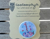 Giraffe Submarine button pin/badge with illustration, metal brooch, art pin, party favor, accessories