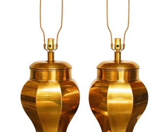 Monumental Chinoiserie Brass Ginger Jar Lamps