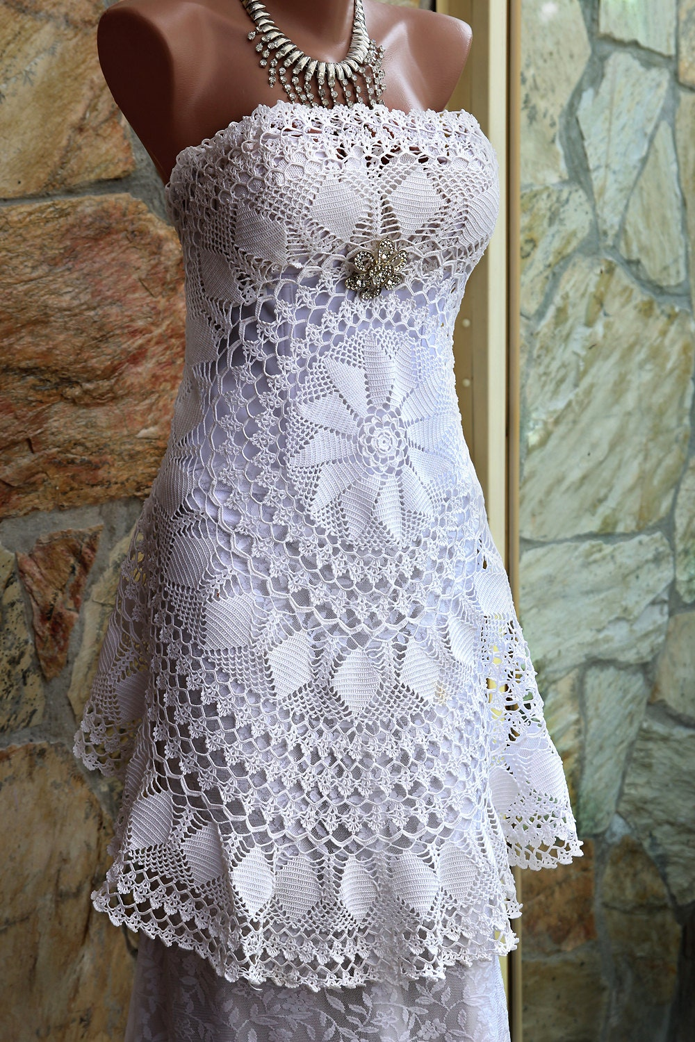 Crochet lace wedding dress ooak alternative wedding dress for Crochet wedding dress patterns