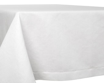 "Linen Tablecloth - 55"" Width - Length by choice - Large Size - Off White Color"
