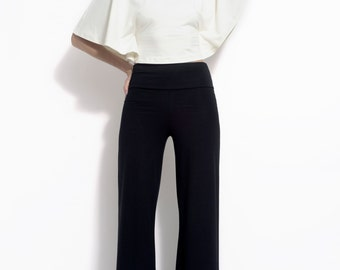 Stretch trouser with widening leg in stretch bamboo jersey - the Katia