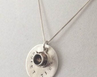 "Sterling Silver (Coffee Time) Necklace With Coffee cup and ""Quiet Time""  Pendant 18"""