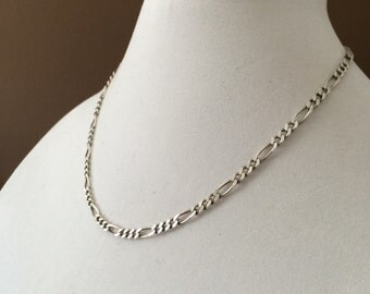 "Sterling Silver Figaro Necklace 18"" x 4mm"