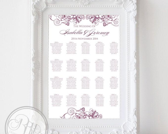"Wedding Seating Chart - Elegant Purple & White Floral Swirl -Digital Files Provided-DIY Printable ""Helen Seating Chart"""
