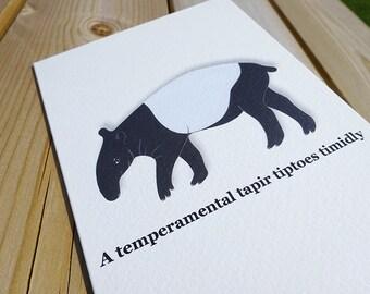 Tapir Card, Tapir Print, Animal Art, Cute Tapir, Malayan Tapir, Animal Cards, Black And White, Tapir, Black White Animals, Tapirs