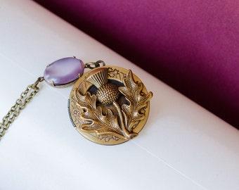 Scottish Thistle Locket Brass Locket Necklace Thistle Locket Necklace Secret Locket Thistle Jewelry Antique Brass Locket Gift for Her