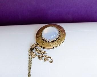 Morning Glory Locket, Vintage Brass Locket Necklace Secret Locket Moon Stone Locket Necklace Antique Silver Locket Gift for Her Mother's Day