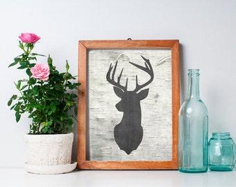 75% OFF SALE - Deer Head - 8x10 Printable Art, Rustic Decor, Deer Print, Wall Art, Antler, Deer Head, Rustic Home Decor, Hunting Decor