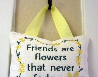 Door hanger, Embroidered door sign, Gift for her, Gift for Friend, Thinking of You Gift, Thank you Gift, Cubicle Decoration
