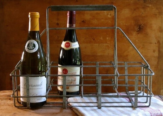 Vintage milk bottle carrier metal wine holder caddy - Wire wine bottle carrier ...