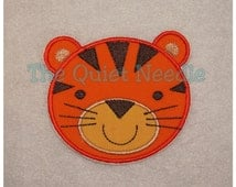 Tiger Face Iron On or Sew On Embroidered Fabric Applique Patch Safari Jungle Animal Zoo MADE to ORDER Baby Kids TShirt Clothing Tutu Decal