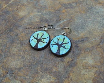 Hand painted teal tree of life earrings on hypoallergenic titanium earwires