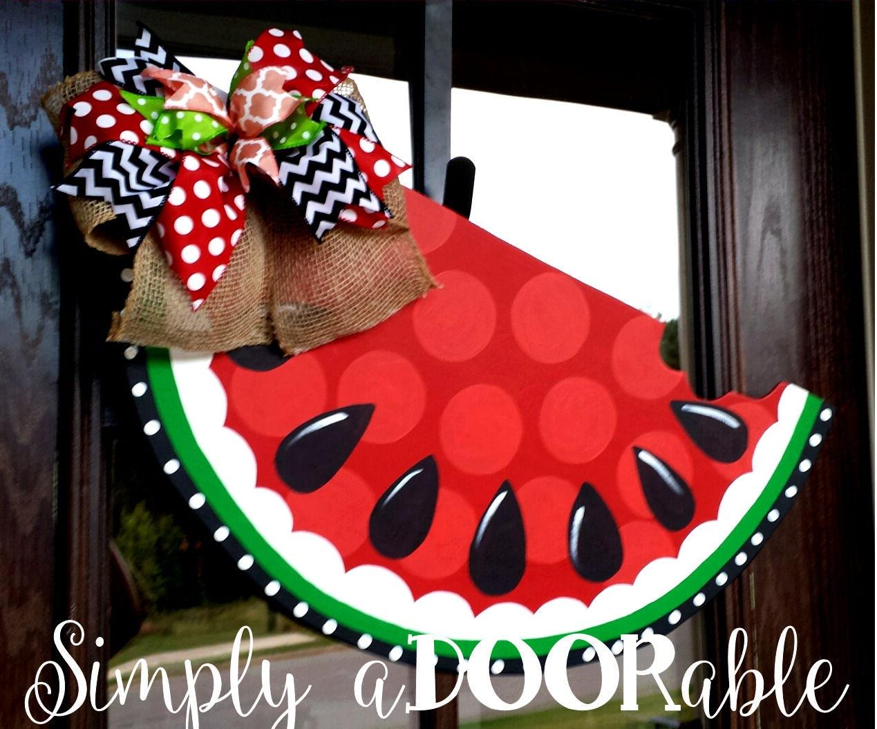 Watermelon Wood Door Hanger Summer Wooden Watermelon