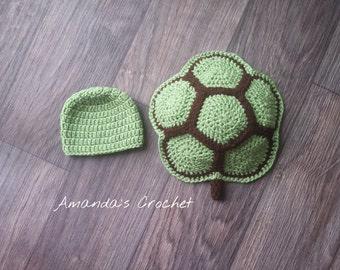 Crochet Turtle Shell & Hat /Newborn/Photo Prop/Turtle Shell Outfit/Turtle Shell