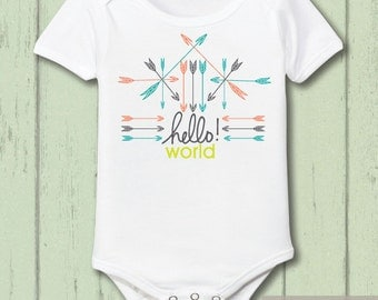 Hello World Baby Bodysuit, Take Home Outfit, New Baby Outfit, Coming Home Outfit, Newborn One Piece, Arrow Baby, Gender Neutral