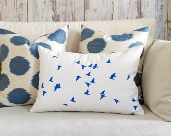 Custom Birds Pillow Cover - Your Choice of Color, Hand Painted Decorative Pillow, bird pillow, gift for her, birds pillow, Cotton Canvas