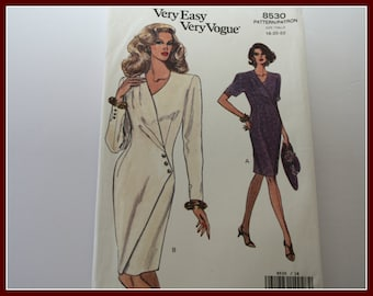 Beautiful! SIZE 18-20-22, Very Easy VOGUE Mock Wrap Dress Sewing Pattern, UNCUT, Vogue 8530, Womens Plus sizes Sizes 18-20-22.