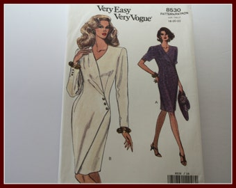 Beautiful! VERY Easy VOGUE Mock Wrap Dress Sewing Pattern, UNCUT, Vogue 8530, Womens Plus sizes Size 18, 20, 22.